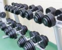 Dumb-bells on the stand in the gym in a row